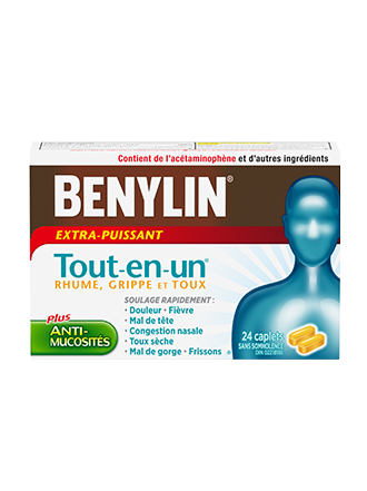 Benylin Tout-en-un Extra-puissant Rhume, toux et grippe, 24 caplets