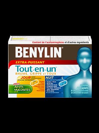 Benylin Tout-en-un Extra-puissant Rhume, grippe et toux, Jour et Nuit, 40 caplets