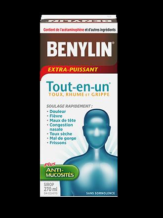 Benylin Tout-en-un Extra-puissant Rhume, grippe et toux, sirop, 270 ml