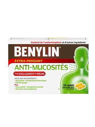 Benylin Extra-puissant Anti-mucosités Plus Soulagement du rhume, 24 caplets