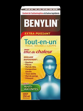 Benylin Tout-en-un Extra-puissant Rhume, grippe et toux, sirop avec effet de chaleur, 250 ml