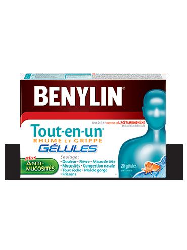 Gélules BENYLIN® Tout‑en‑un® RHUME ET GRIPPE