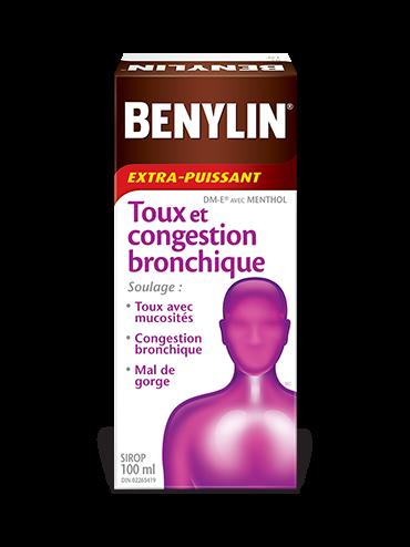 Sirop BENYLIN® Extra-puissant Toux et congestion bronchique, 100 ml. Soulage : Toux avec mucosités, congestion bronchique et mal de gorge.