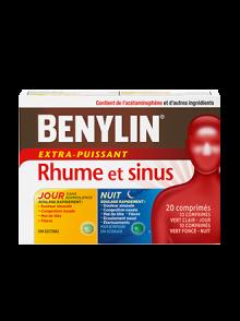 Duo pratique BENYLIN® Rhume et sinus Jour/Nuit, 24 comprimés. Soulage : Douleur sinusale, congestion nasale, mal de tête et écoulement nasal (comprimés Nuit seulement)