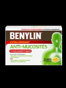 Caplets BENYLIN® ANTI-MUCOSITÉS PLUS SOULAGEMENT DU RHUME, 24 caplets. Soulage : Mucosités, toux sèche, mal de gorge et congestion nasale.