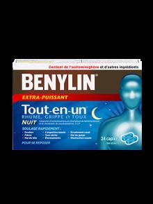 Comprimés BENYLIN® Extra-puissant Rhume et sinus PLUS+, 24comprimés. Soulage : Douleur sinusale, congestion nasale et fièvre.