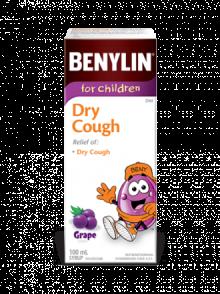 Sirop BENYLIN® pour enfants Toux sèche, saveur de raisin, 100 ml. Soulage : Toux sèche.
