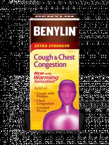 Sirop BENYLIN® Extra-puissant Toux et congestion bronchique avec effet de chaleur, 250 ml. Soulage : Toux avec mucosités, congestion bronchique et irritation de la gorge.