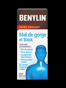 Sirop BENYLIN® Extra-puissant Mal de gorge et toux, 100 ml. Soulagez rapidement le mal de gorge, la toux grasse, la congestion bronchique et l'obstruction nasale, ET apaisez la gorge irritée.