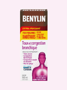 Sirop BENYLIN® Extra-puissant Toux et congestion bronchique, pour personnes diabétiques. Soulage : Toux, congestion bronchique, congestion nasale et sinusale, et mal de gorge, 100 ml.