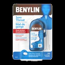 Pastille BENYLIN® Mal de gorge à saveur de menthe rafraîchissante pour la toux, 20pastilles